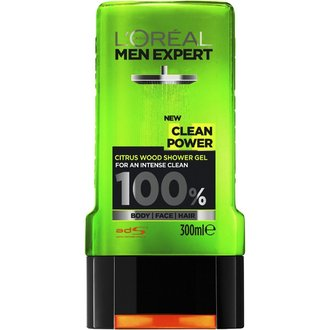 L'oreal Men Expert 3in1 Clean Power душ гел / шампоан за коса, лице и тяло 300 мл