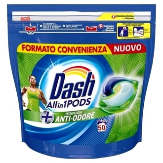 Dash Allin1 Pods Anti-Odore 50 капсули за бяло и цветно пране
